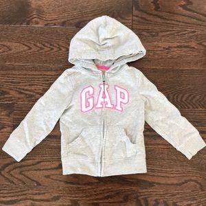 GAP Shirts & Tops - Gap Gray Zip Up Hoodie Sweatshirt with Pink Detail